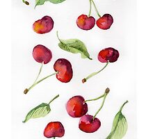 Watercolor  cherry. Raster illustration. by OlgaBerlet