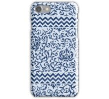 Damask Chevron Blue and White iPhone Case/Skin
