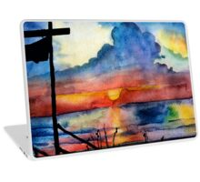 Sunset beach, Arambol, India, Goa, paper watercolor, ink pen Laptop Skin