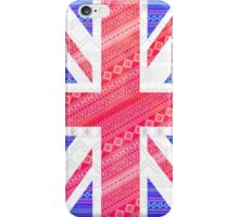 Modern Abstract White Aztec UK Union Jack Flag iPhone Case/Skin
