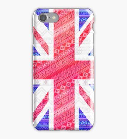 Modern Abstract White Aztec UK Union Jack Flag iPhone Case/Skin