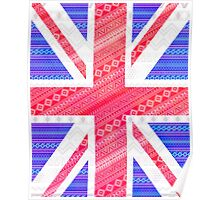 Modern Abstract White Aztec UK Union Jack Flag Poster