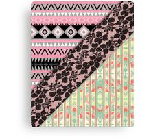 Abstract Pink Orange Aztec Black Girly Floral Lace Canvas Print