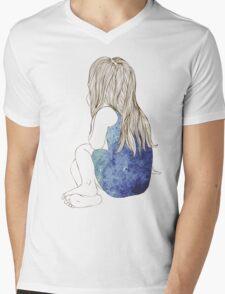Little girl in a dress sitting back hair Mens V-Neck T-Shirt