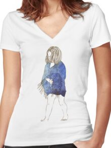 Little girl in a watercolor dress Women's Fitted V-Neck T-Shirt