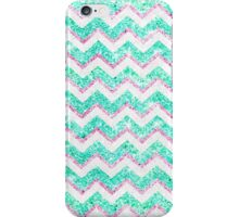 Chevron Pattern Girly Teal Pink Glitter photo iPhone Case/Skin