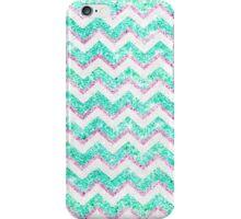 Chevron Pattern Girly Teal Pink Glitter photo iPhone Case/Skin
