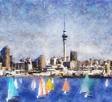 Auckland Harbour and Sky Tower, New Zealand by Shamus Macca
