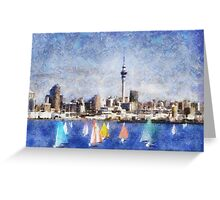 Auckland Harbour and Sky Tower, New Zealand Greeting Card