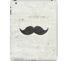Vintage Funny Mustache White Retro Wood iPad Case/Skin