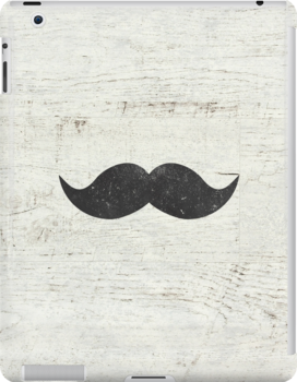 Vintage Funny Mustache White Retro Wood by GirlyTrend