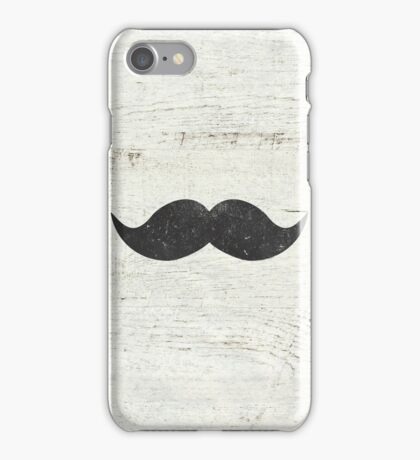 Vintage Funny Mustache White Retro Wood iPhone Case/Skin