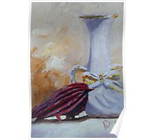 Vase and Little Red Bird Poster