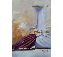 Vase and Little Red Bird Photographic Print