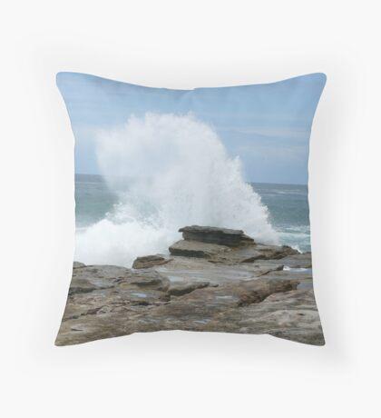 battered shoreline Throw Pillow