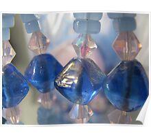 4 handmade blue glass beads Poster
