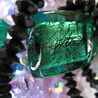 green silver foil bead and bling by poshbeads
