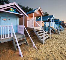 Beach Huts Sunset by pixelda