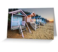 Beach Huts Sunset Greeting Card