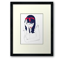 The girl with the red ribbon Framed Print