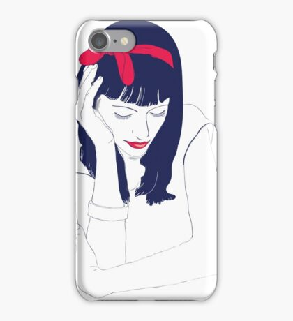 The girl with the red ribbon iPhone Case/Skin