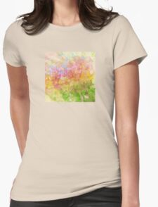 Abstract Flower Design in Aqua, Pink, Yellow, Green Womens Fitted T-Shirt