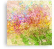 Abstract Flower Design in Aqua, Pink, Yellow, Green Canvas Print