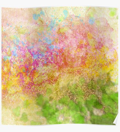 Abstract Flower Design in Aqua, Pink, Yellow, Green Poster