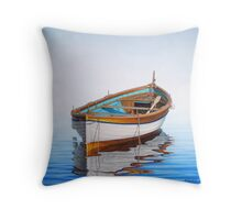 Solitary Boat on the Sea Throw Pillow
