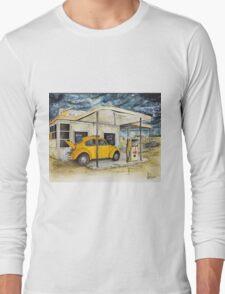 Taxi at Abandoned Petrol Station Long Sleeve T-Shirt