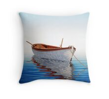 Boat in a Serene Sea Throw Pillow