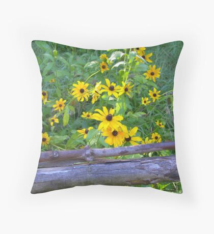 Black-Eyes Susans at the Fence Throw Pillow