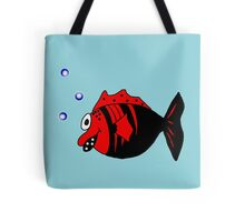 Black and red funny fish  Tote Bag