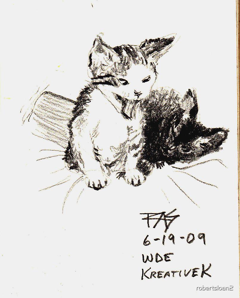Kittens Yawning by robertsloan2