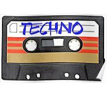 Techno Music Cassette Tape Poster