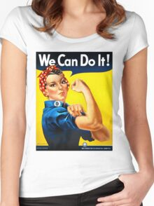 Rosie the Riveter - US World War II Propaganda Poster Women's Fitted Scoop T-Shirt