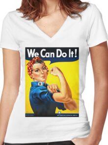 Rosie the Riveter - US World War II Propaganda Poster Women's Fitted V-Neck T-Shirt