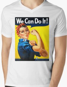 Rosie the Riveter - US World War II Propaganda Poster Mens V-Neck T-Shirt