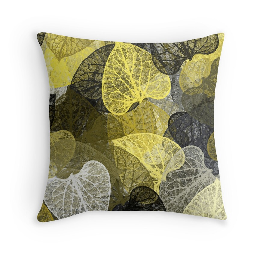 black and gold leaf abstract throw pillows by christina. Black Bedroom Furniture Sets. Home Design Ideas