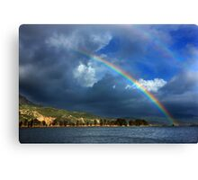 Double rainbow at Kaiafas lake Canvas Print