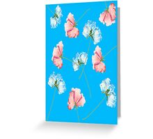 Pink Blue Roses Greeting Card