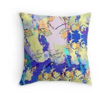 Abstracted Faces / Abstract With Faces – Echoes of a Portrait of an Imaginary Woman Throw Pillow