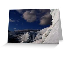 Far ice - climber in deep blue bliss Greeting Card