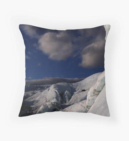 Far ice - climber in deep blue bliss Throw Pillow