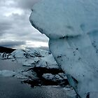 Ice pillar over lake by LichenRockArts
