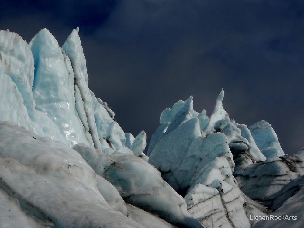 Ice spikes lit by midnight sun by LichenRockArts