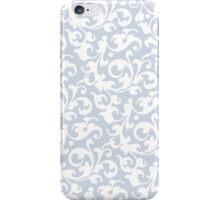 Soft Gray Blue Damask iPhone Case/Skin
