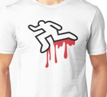 Coroner murder victim outline with dripping blood Unisex T-Shirt