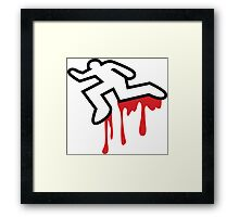 Coroner murder victim outline with dripping blood Framed Print