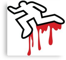 Coroner murder victim outline with dripping blood Canvas Print
